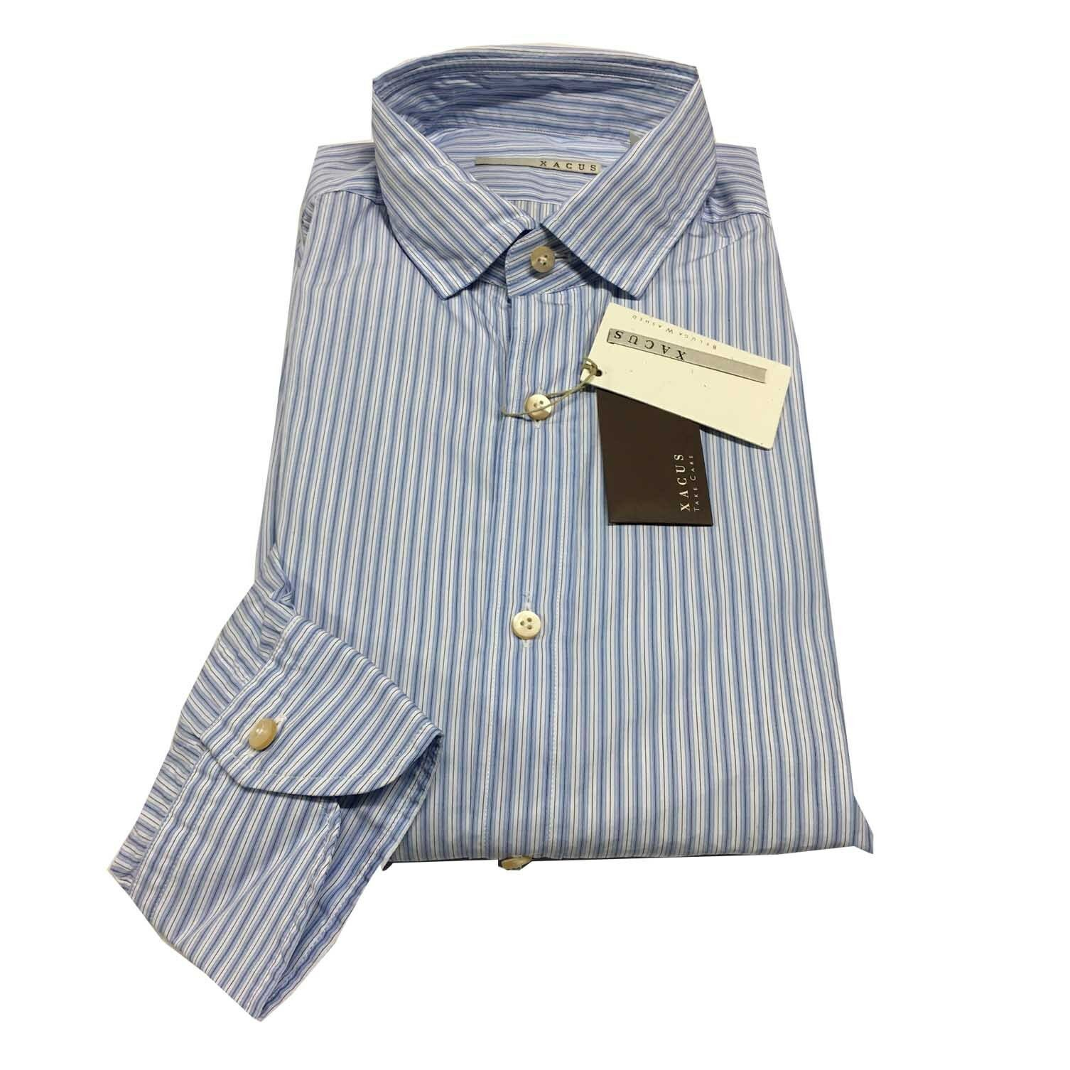 XACUS men's shirts striped baby bluee washed slim fit 100% cotton ALBINI
