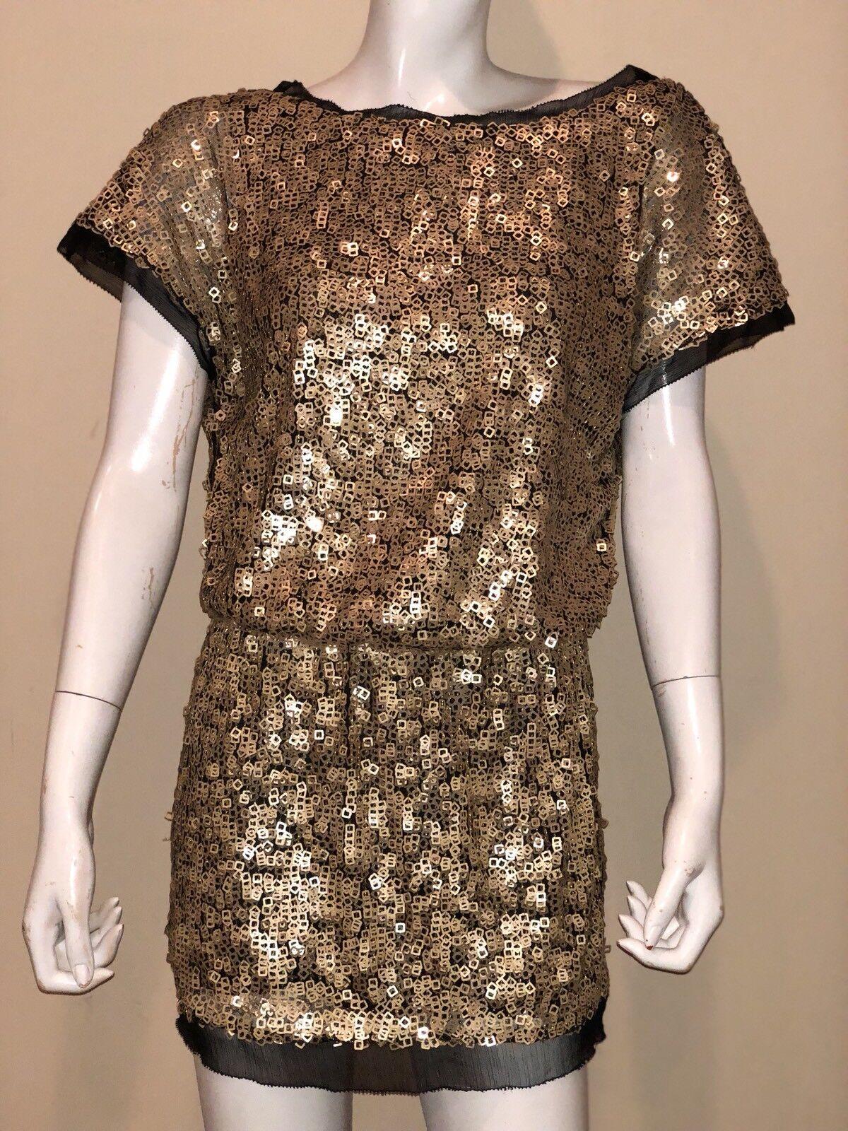 New Aidan Mattox Gold Applique Blouson Sz 0 Dress New