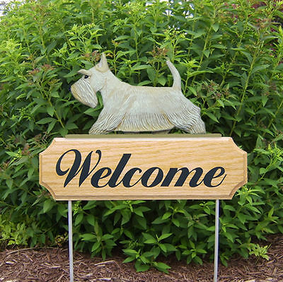 Scottish Terrier Dog Breed Oak Wood Welcome Outdoor Yard Sign Wheaten