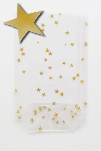 25 Sterne gold OPP mit Boden 115x190  Zellglasbeutel Cellophanbeutel Goldsterne