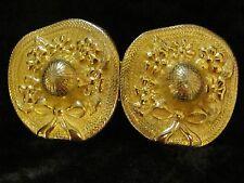 Vintage Paquette Flower Hat Belt Buckle Gold Tone