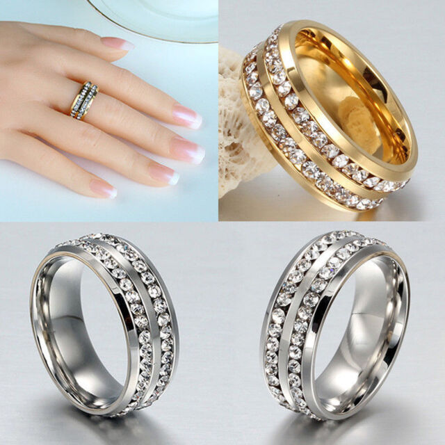 YH Size 7-12 Unisex Stainless Steel Ring Men/Women's Wedding Band Silver/Gold