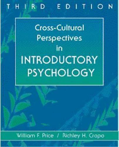 Cross Cultural Perspectives In Introductory Psychology By William F Price 1998 Trade Paperback For Sale Online Ebay