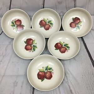 China-Pearl-Casuals-Red-Apples-Retired-Lot-of-Six-6-5-8-034-Cereal-Bowls-EUC