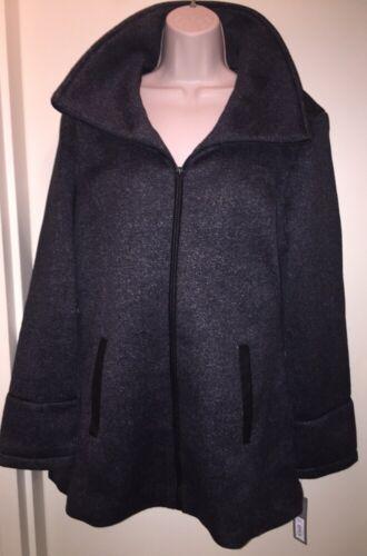 Apt Nuovi in tag da Gray cappuccio Herringbone con donna taglia Giacca pile 9 L black Cappotto rqxCw7nfrP