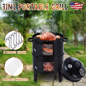 Charcoal-Water-Smoker-Grill-Outdoor-BBQ-Barbecue-Cooker-Backyard-Camping-Patio