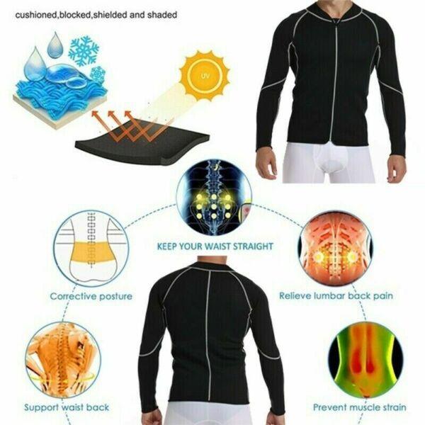 Herren & Damen Langarm Sauna Trainingsanzug Neopren Mieder Body Shaper Korsett