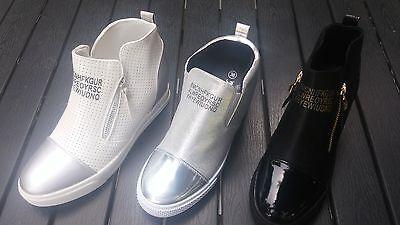 Designer Wedges Sport Sneaker Keilabsatz Damenschuhe-Weiß,schwarz,silber