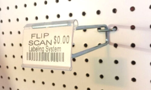 8 Inch Flip Scan Metal Peg Hooks with Label Holder 3//16 /& 1//4 Pegboard 10 PACK