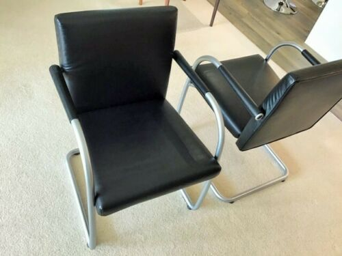 VITRA 2x Visasoft Office / Meeting Black Leather chairs with arms
