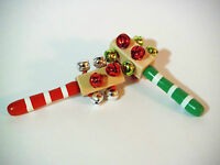 Jingle Sleigh Bell Rattlers..authentic Jingling Sleigh Bells Sound.wooden Handle