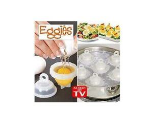 eggies 6 moules cuit oeuf micro onde bain marie vu la tv cuisson oeufs ebay. Black Bedroom Furniture Sets. Home Design Ideas