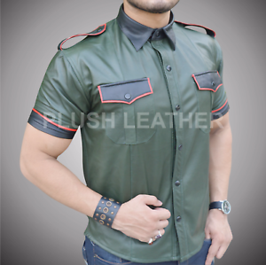 Mens Very Hot Real Sheep Leatherin Army Green Police Uniform Shirt bluef Gay
