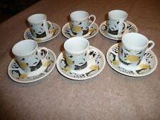 Lot of 6 QA WAS MI Tea or Coffee Cups & Saucers White Black Yellow GUC