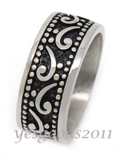 USA Seller 10MM Vintage Silver Stainless Steel Biker Ring Size 8-13 SR71