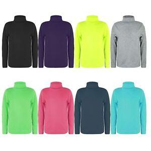ae6d3b7e4d5bf Kids Turtleneck Long Sleeve Top Girls Plain Basic Boys Jersey Polo ...