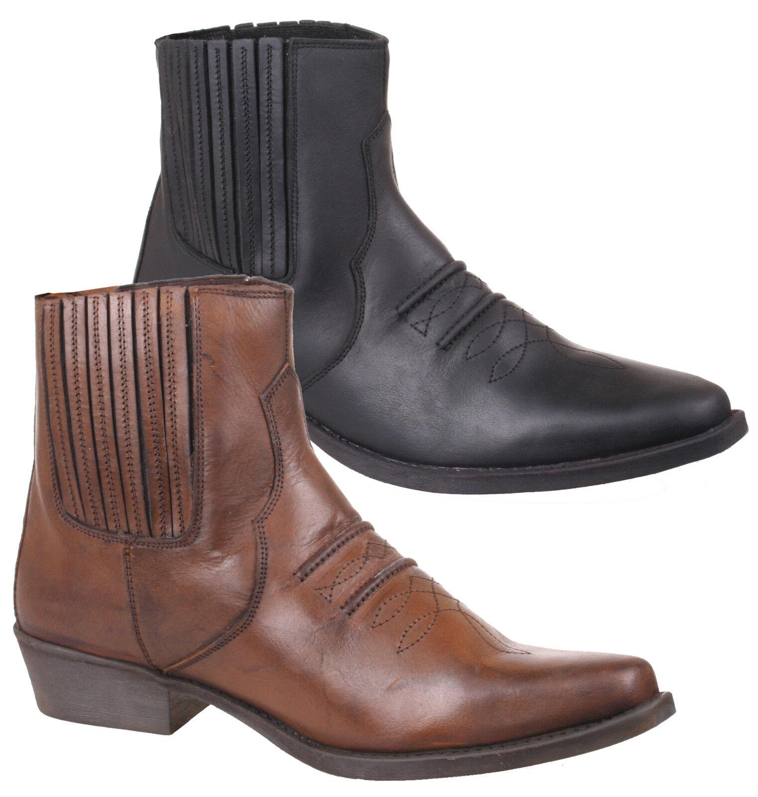 Uomo Western / cowboy Stivali in 6 Nero o Marrone Dimensione 6 in 7 8 9 10 11 12 cb35e2