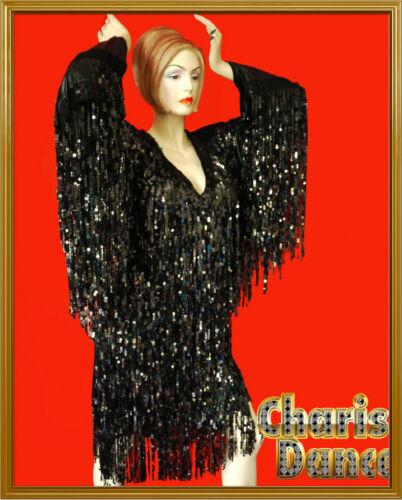 BLACK  VEGAS DIVA Transvestite Spectacular Fringe DRAG QUEEN LONG SLEEVE Dress