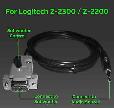 Logitech Z-4 Control Pod Bypass Subwoofer Cable 12ft Z4 center volume