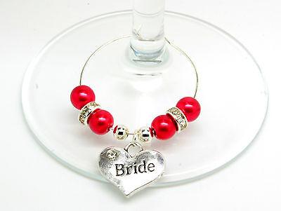 Red Pearl Personalizzato Matrimonio Famiglia Tavolo Festa Bicchiere Di Vino Charms- Medulla Benefico A Essenziale