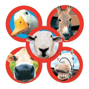 "25 Funny Farm Animal Stickers, 2.5""x2.5"" ea., Party Favors"