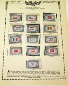 1943-1944-US-STAMP-COMMEMORATIVES-5c-SET-OVERRUN-COUNTRIES-UNUSED-HINGED