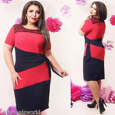 Womens Sexy Bodycon Plus Size Short Sleeve Party Evening Cocktail Formal Dress