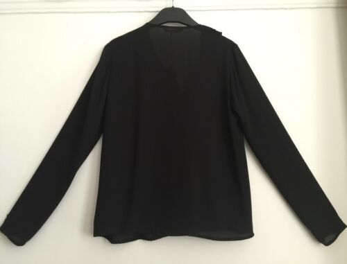 M/&S Black Frill Front Blouse Size 8 RRP £32.50