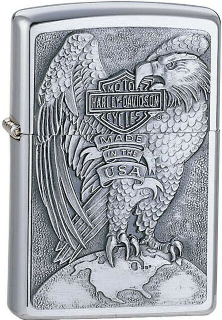 Zippo Harley Davidson HD Eagle On Globe, Brushed Chrome Lighter, 200HD.H231 L@@K