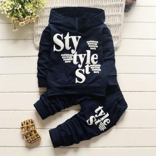 Toddler Baby Kid Boy Style Letter Print Hood Tops Pattern Pants 2PCS Set Clothes