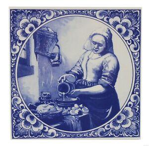 Blue-Delft-Vintage-Ceramic-Tile-Rare-Reproduction-Majolica-Netherlands-Holland