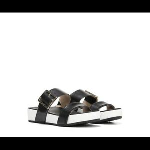 Dr-Scholl-039-s-Anthropologie-Frill-Banded-Slide-Slip-On-Sandals-Black-White-8M
