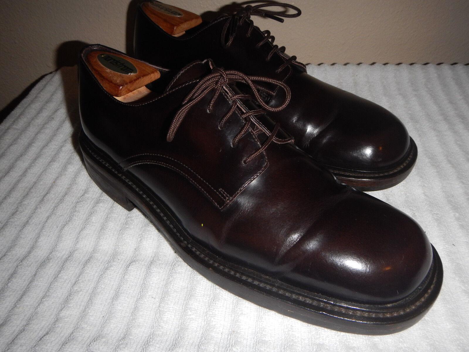J Crew Men's Plain Toe bluecher Dress shoes Dark Brown Leather  9 M