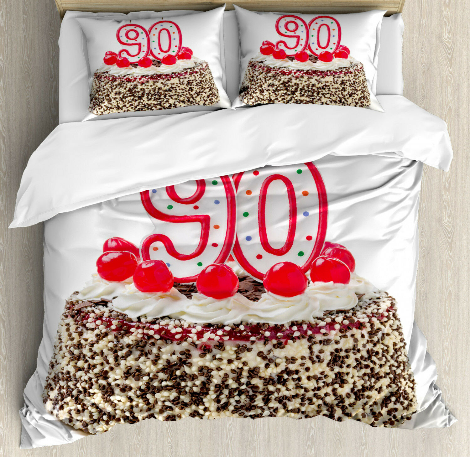 Party Duvet Cover Set with Pillow Shams Tasty Cherries Candles Print