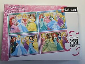 Puzzles-4x100-Pieces-Princesses-Disney