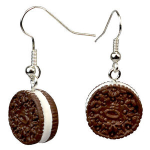 Image Is Loading Oreo Style Chocolate Cookie Dangle Drop Earrings Kawaii