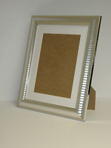 Two Tone Silver 10x12 Picture  Photo Frame  Mount 7.75x9.75  Free Standing