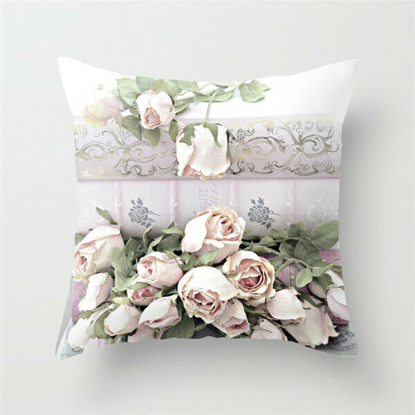 Art Flower Cushion Cover Waist Home Sofa Bed Car  Floral Throw Pillow Case Decor