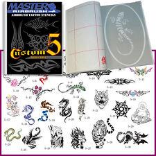 SET 5 BOOK 30 Lg Reusable Airbrush Temporary Tattoo Stencil Art Designs Template