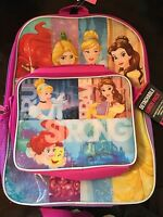 Disney Princess Large Backpack 16 Lunch Bag School Bag Pink Free Shipping