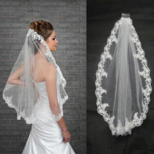 White-Ivory-Hot-1-Pcs-1-Layer-Wedding-Veil-Bridal-Veils-Lace-Edge-With-Comb
