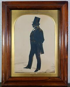 Antique-English-Gentleman-Full-Length-Silhouette-Portrait-Frederick-Frith-19th-c