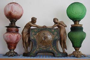 ANTIQUE-ARTS-CRAFTS-OIL-KEROSENE-ART-NOUVEAU-DECO-GWTW-VICTORIAN-OLD-GLASS-LAMP