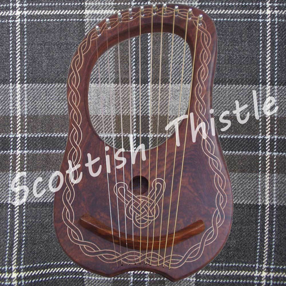 New Lyre Harp 10 Metal Strings Free Tunning key & Carrying Case HARFE ARPA