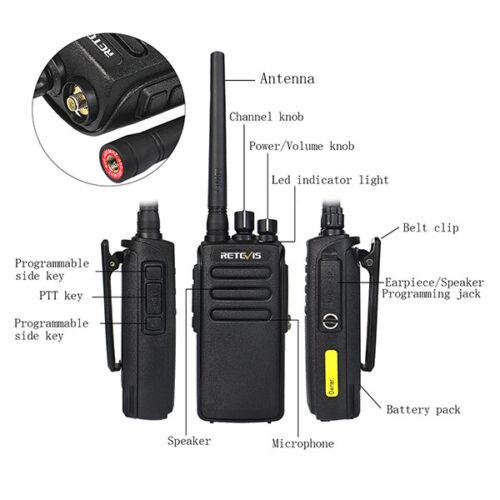 Cable US 2XRetevis RT81 DMR Digital IP67 10W 32CH VOX Walkie Talkies 2200mAh
