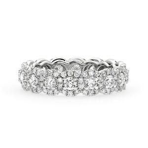 20 Ct U Shape Pave Halo Diamond Eternity Band Wedding Ring in 18k