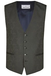 Wilvorst Herren Weste Hochzeitsanzug schwarz blau Jacquard Muster 491103 030