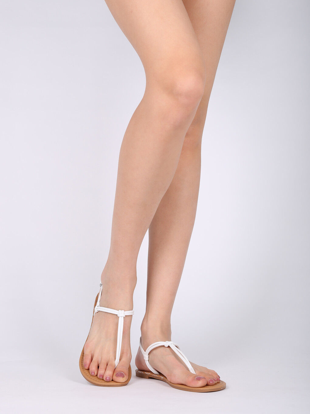 New - Women PU Knotted T-Strap Slingback Flat Sandal - New 17868 By Qupid Collection e7a5b1