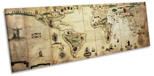 Antique Vintage World Map Framed Panorama Canvas Print