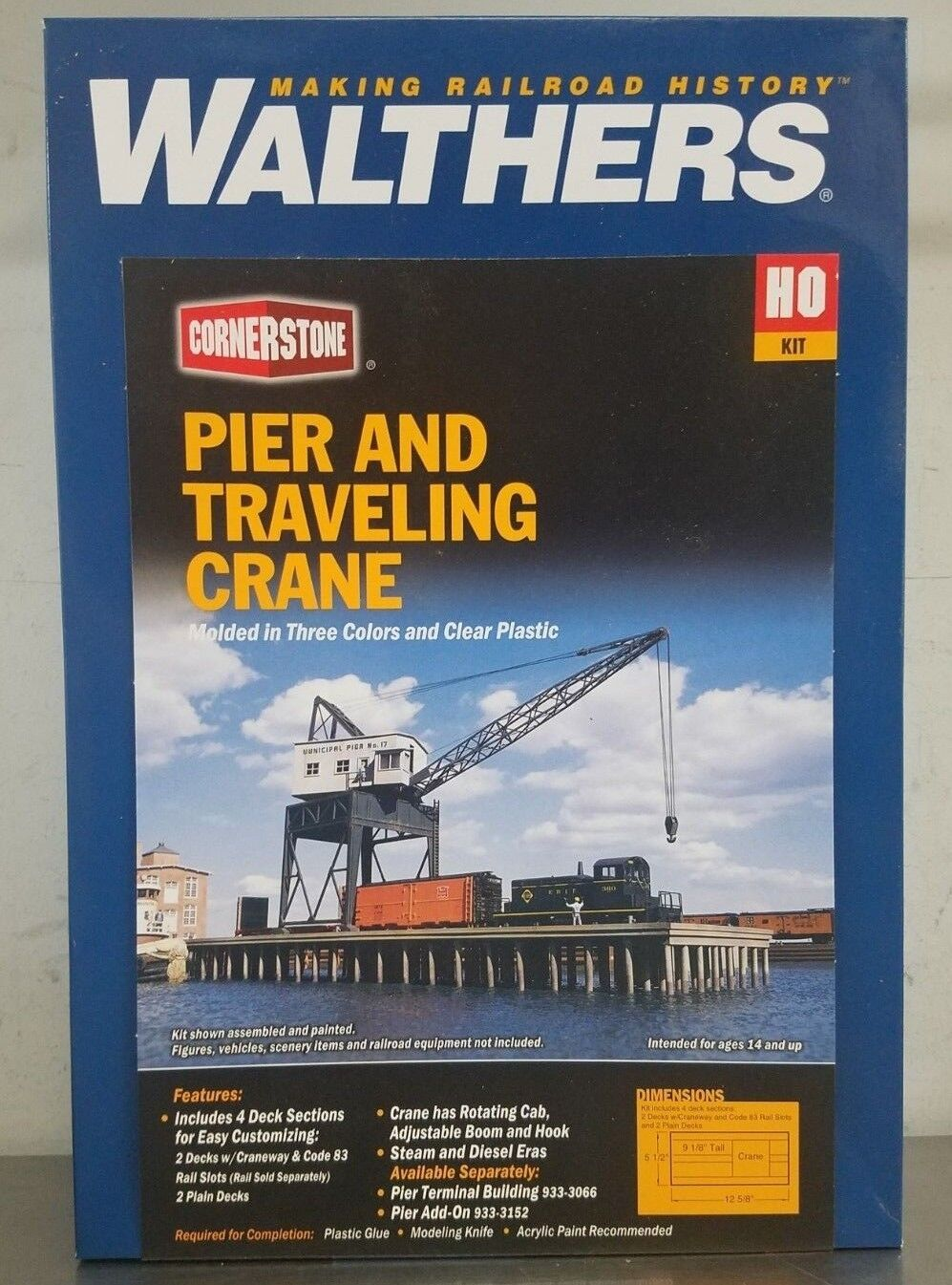 WALTHERS Cornerstone Pier and Traveling Crane Kit HO Scale 933-3067 - NEW